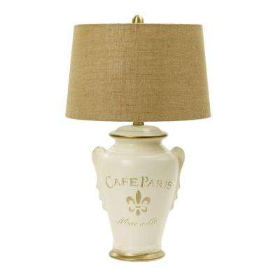 29.5 in. Eggshell and Gold Ceramic Table Lamp Inspired by Paris