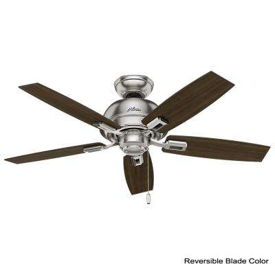 Donegan 44 in. LED 3-Light Indoor Brushed Nickel Ceiling Fan with bundled Handheld Remote Control