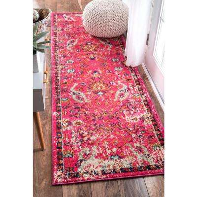 Distressed Floral Anabel Pink 3 ft. x 8 ft. Runner Rug