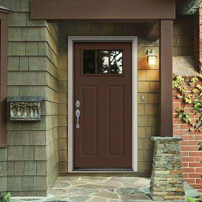 32 in. x 80 in. 3 Lite Craftsman Dark Chocolate Painted Steel Prehung Right-Hand Inswing Front Door w/Brickmould