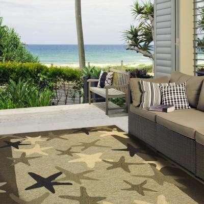 Starfish Field Khaki Green 8 ft. x 10 ft. Indoor/Outdoor Area Rug
