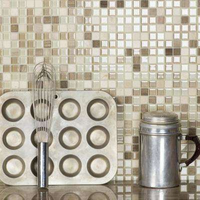Crystal Stone Cornsilk Taupe Square Mosaic 1 in x 1 in Glass and Stone Wall and Pool Tile (0.97 Sq. ft.)
