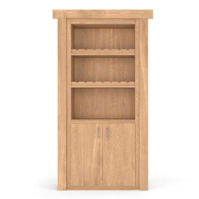 30 in. x 80 in. Flush Mount Assembled Hickory Unfinished Right-Hand Outswing Wine Rack Door