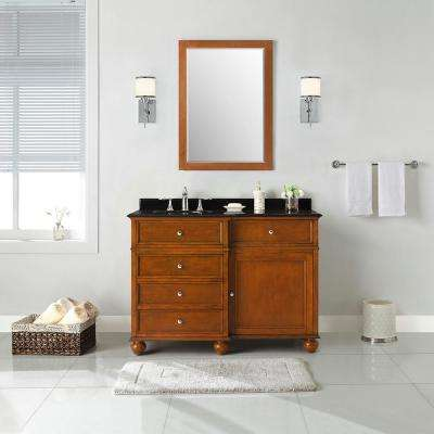 Hampton Harbor 48 in. W x 22 in. D in Sequoia Bath Vanity with  Granite Vanity Top in Black with White Sink