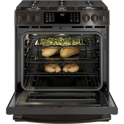 Profile 5.6 cu. ft. Slide-In Smart Gas Range with Self-Cleaning True Convection Oven and WiFi in Black Stainless Steel