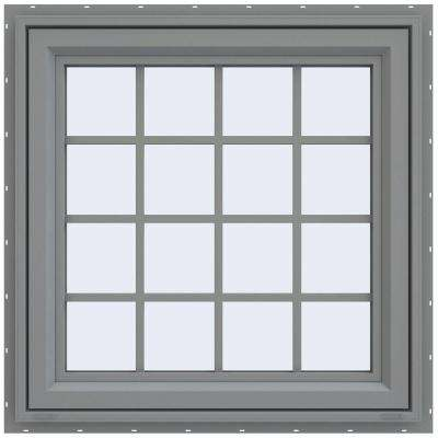 29.5 in. x 29.5 in. V-4500 Series Right-Hand Casement Vinyl Window with Grids - Gray