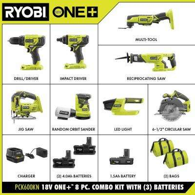 ONE+ 18V Cordless 8-Tool Combo Kit with 3 Batteries and Charger