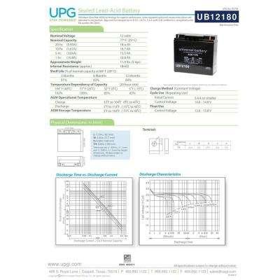 12-Volt 18 Ah T4 Terminal Sealed Lead Acid (SLA) AGM Rechargeable Battery