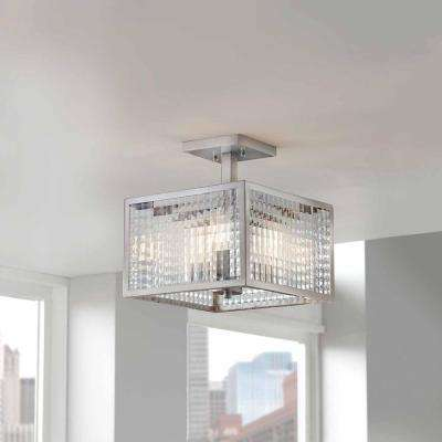 12 in. 3-Light Brushed Nickel Semi-Flush Mount with Etched Clear Glass Shades