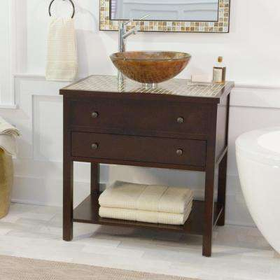 Briscoe 31 in. W x 22 in. D Bath Vanity in Espresso with Glass Vanity Top and Sink