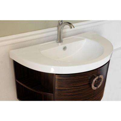 Sandhurst 34 in. W Single Vanity in Ebony/Zebra with Porcelain Vanity Top in White