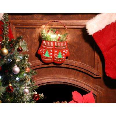 34 in. Alpine Christmas Hanging Metal Red Mittens Planter with LED Light