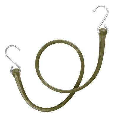31 in. EZ-Stretch Polyurethane Bungee Strap with Galvanized S-Hooks (Overall Length: 36 in.) in Military Green