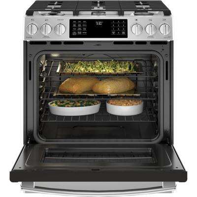Profile 5.6 cu. ft. Slide-In Smart Dual Fuel Range with Self Cleaning and True Convection and WiFi in Stainless Steel