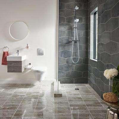 Castle Rock Gray 9.5 in. x 19.25 in. Matte Porcelain Hexagon Floor and Wall Tile (12.15 sq. ft. / case)