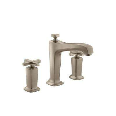 Margaux Deck-Mount High-Flow Bath Faucet Trim with Cross Handles in Vibrant Brushed Bronze (Valve Not Included)
