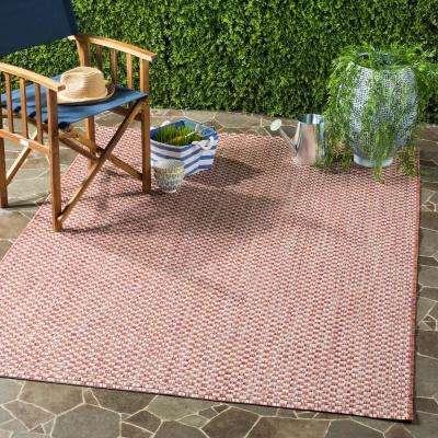 Courtyard Rust/Light Gray 9 ft. x 12 ft. Indoor/Outdoor Area Rug
