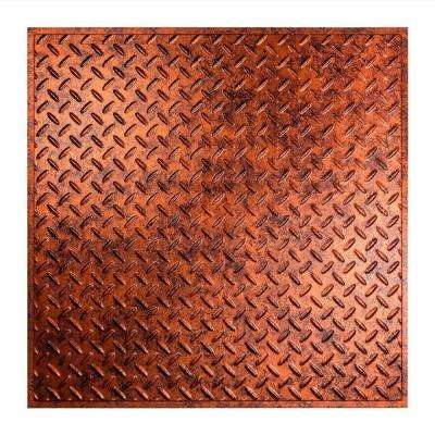 Diamond Plate - 2 ft. x 2 ft. Revealed Edge Lay-in Ceiling Tile in Moonstone Copper