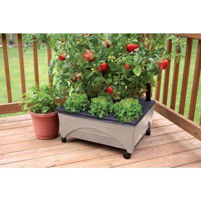 24.5 in. x 20.5 in. Patio Raised Garden Bed Grow Box Kit with Watering System and Casters in Sandstone