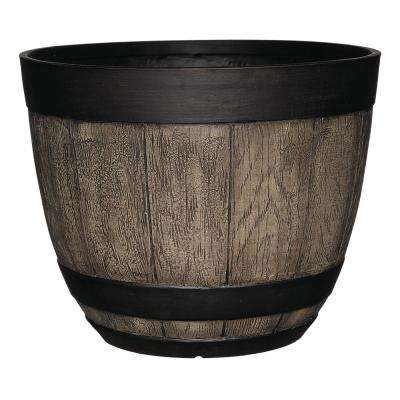 Napa 16 in. Driftwood Resin Wine Barrel Planter