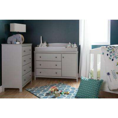 Cotton Candy 39.75 in. x 31.5 in. 4-Drawer Chest in Soft Gray
