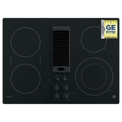 GE Profile 30 in. Radiant Electric Downdraft Cooktop in Black with 4 Elements including Power Boil GE Profile