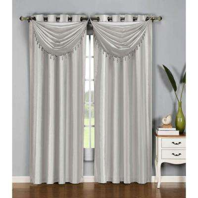 Semi_Opaque Jane Faux Silk Grommet Curtain Panel