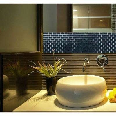 Landscape Swamp Black Linear Mosaic 1 in. x 2 in. Textured Glass Wall Pool and Floor Tile (0.77 Sq. ft.)