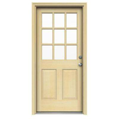 9 Lite Unfinished Hemlock Prehung Front Door with Unfinished AuraLast Jamb and Brickmold