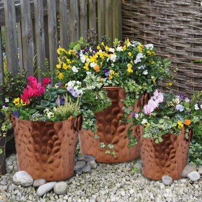 Copper Round Eye Catching Wrought Iron Planters (Set of 3)
