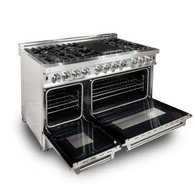 ZLINE 48 in. Stainless Steel 6.0 cu. ft. 7 Gas Burner/Electric Oven Range