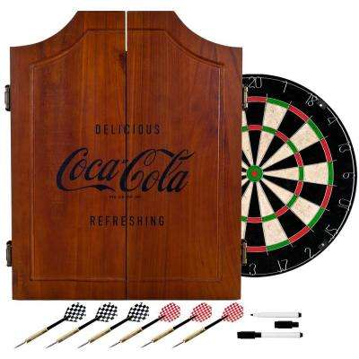 Coca-Cola Wood Finish Dart Cabinet Set