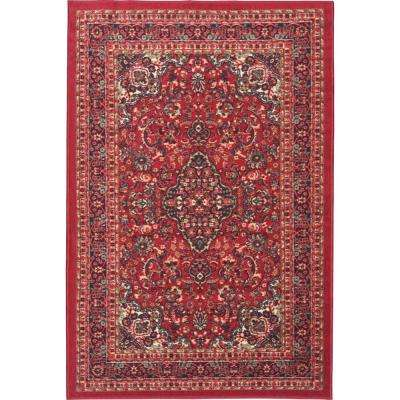 Ottohome Collection Traditional Persian All-Over Pattern Design Dark Red 3 ft. 3 in. x 5 ft. Area Rug