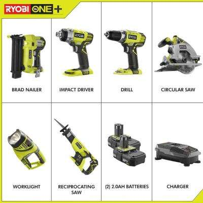 18-Volt ONE+ Lithium-Ion Cordless 6-Tool Combo Kit with (2) Batteries and Charger