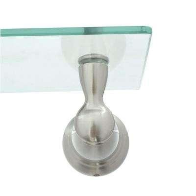 Banbury 22.75 in. W Glass Shelf in Brushed Nickel