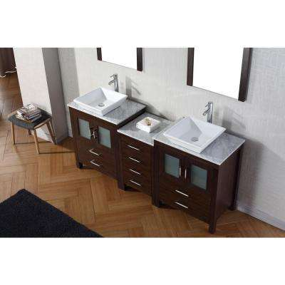 Dior 75 in. W Bath Vanity in Espresso with Marble Vanity Top in White with Square Basin and Mirror and Faucet