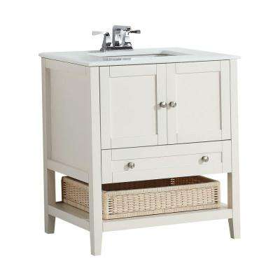 Cape Cod 30 in. W Vanity in Soft White with Quartz Marble Vanity Top in White