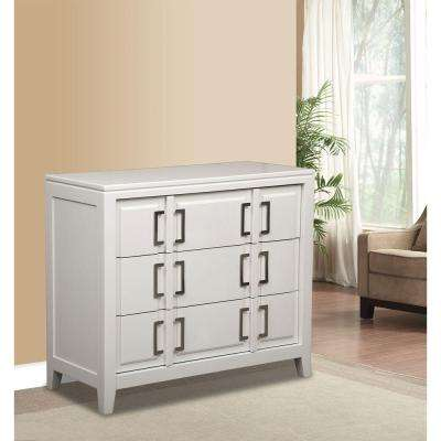 3-Drawer Wood Cabinet in White