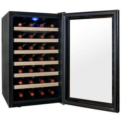28-Bottle Single Zone Thermoelectric Wine Cooler in Black with Wooden Shelves