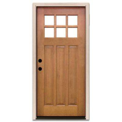 32 in. x 80 in. Craftsman 6 Lite Stained Mahogany Wood Prehung Front Door