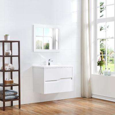 Lizabetha 32 in. W x 18 in. D Vanity in Matte White with Resin Vanity Top in White with White Sink