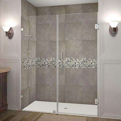 Nautis GS 60 in. x 72 in. Frameless Hinged Shower Door in Stainless Steel with Glass Shelves