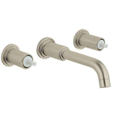 Atrio 2-Handle Wall Mount Bathroom Faucet in Brushed Nickel Infinity Finish (Handles Sold Separately)