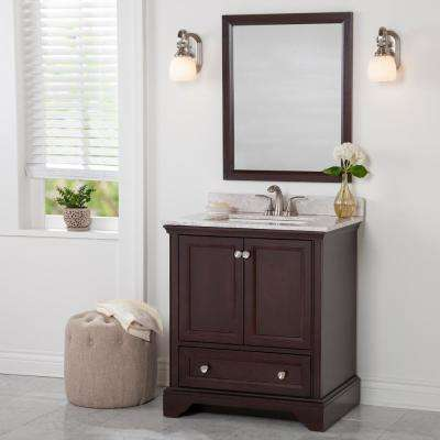 Stratfield 31 in. W x 22 in. D Bath Vanity in Chocolate with Stone Effect Vanity Top in Winter Mist with White Sink