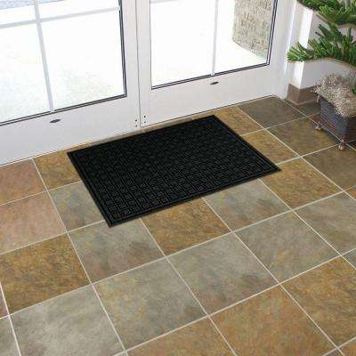 Black 24 in. x 36 in. Fiber and Rubber Commercial Door Mat