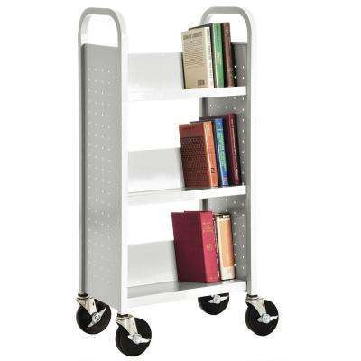 Single Sided Sloped 3-Shelf Booktruck in Anti-Microbial White