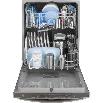 24 in. Top Control Dishwasher in Slate with Plastic Tall Tub and Steam Cleaning, Fingerprint Resistant
