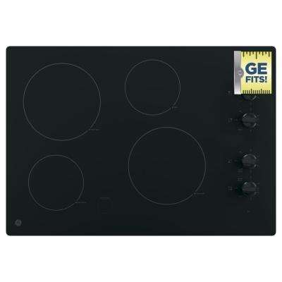 GE 30 in. Radiant Electric Cooktop in Black with 4 Elements including 2 Power Boil Elements GE