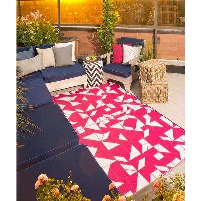 Santa Cruz Indoor/Outdoor Beetroot and White 6 ft. x 9 ft. Area Rug