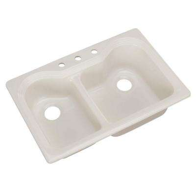 Breckenridge Drop-In Acrylic 33 in. 3-Hole Double Bowl Kitchen Sink in Biscuit